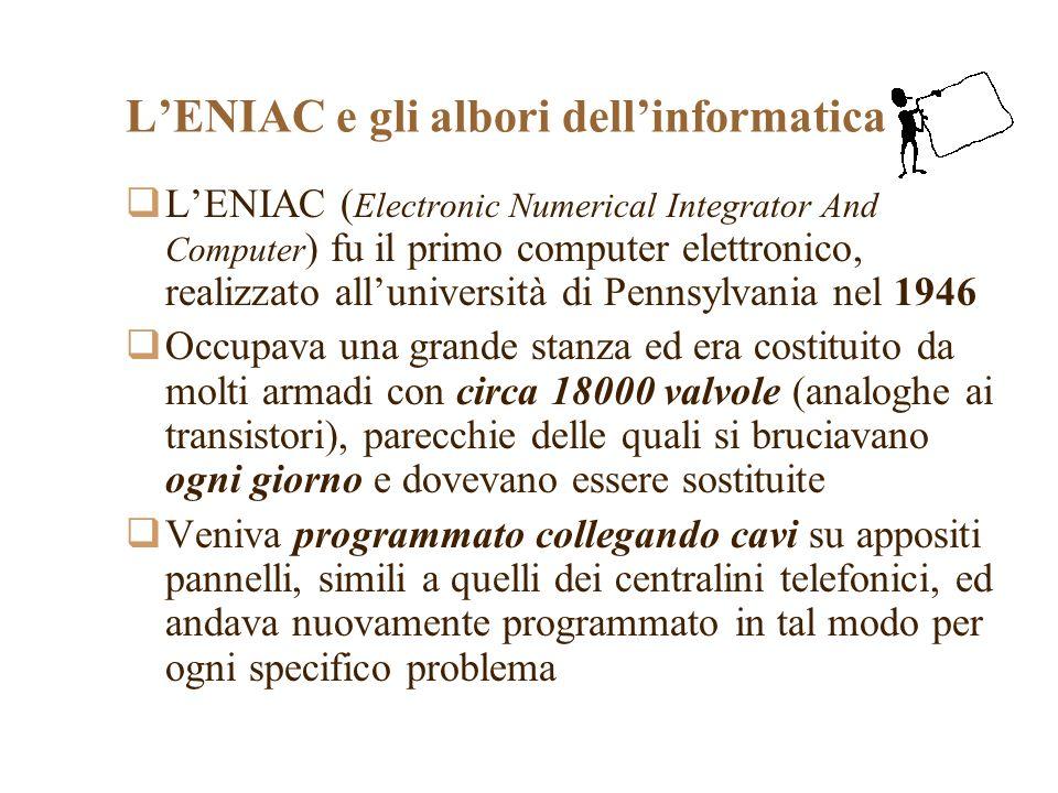 LENIAC e gli albori dellinformatica LENIAC ( Electronic Numerical Integrator And Computer ) fu il primo computer elettronico, realizzato alluniversità di Pennsylvania nel 1946 Occupava una grande stanza ed era costituito da molti armadi con circa 18000 valvole (analoghe ai transistori), parecchie delle quali si bruciavano ogni giorno e dovevano essere sostituite Veniva programmato collegando cavi su appositi pannelli, simili a quelli dei centralini telefonici, ed andava nuovamente programmato in tal modo per ogni specifico problema