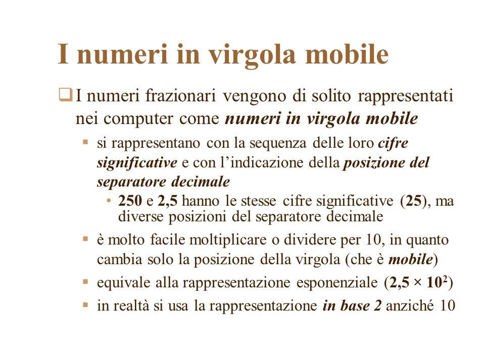 I numeri in virgola mobile I numeri frazionari vengono di solito rappresentati nei computer come numeri in virgola mobile si rappresentano con la sequenza delle loro cifre significative e con lindicazione della posizione del separatore decimale 250 e 2,5 hanno le stesse cifre significative (25), ma diverse posizioni del separatore decimale è molto facile moltiplicare o dividere per 10, in quanto cambia solo la posizione della virgola (che è mobile) equivale alla rappresentazione esponenziale (2,5 × 10 2 ) in realtà si usa la rappresentazione in base 2 anziché 10