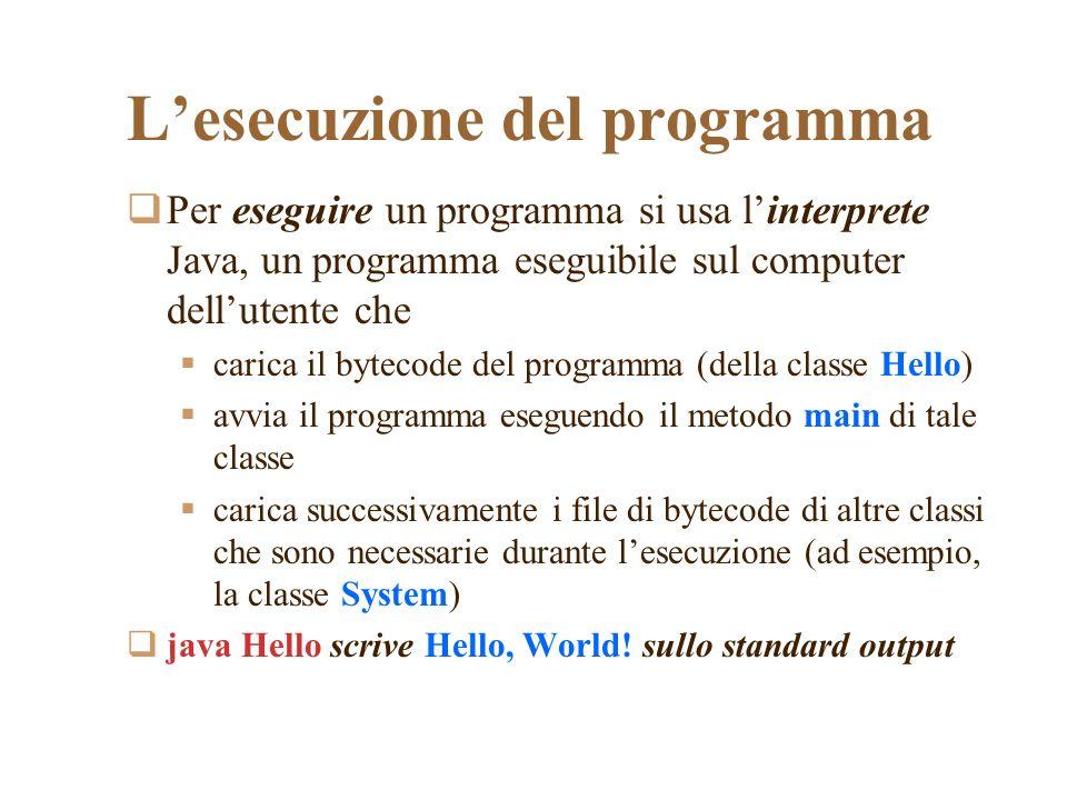 Lesecuzione del programma Per eseguire un programma si usa linterprete Java, un programma eseguibile sul computer dellutente che carica il bytecode de