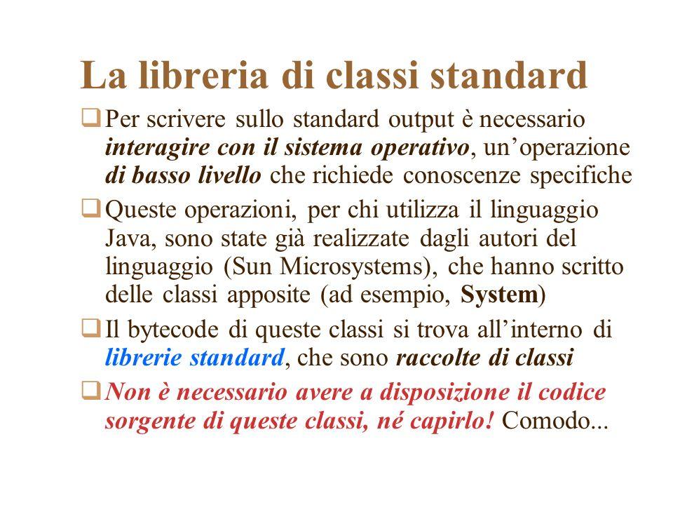 La libreria di classi standard Per scrivere sullo standard output è necessario interagire con il sistema operativo, unoperazione di basso livello che