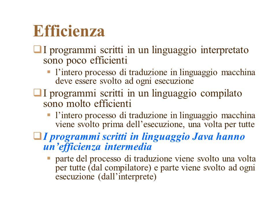 Efficienza I programmi scritti in un linguaggio interpretato sono poco efficienti lintero processo di traduzione in linguaggio macchina deve essere svolto ad ogni esecuzione I programmi scritti in un linguaggio compilato sono molto efficienti lintero processo di traduzione in linguaggio macchina viene svolto prima dellesecuzione, una volta per tutte I programmi scritti in linguaggio Java hanno unefficienza intermedia parte del processo di traduzione viene svolto una volta per tutte (dal compilatore) e parte viene svolto ad ogni esecuzione (dallinterprete)