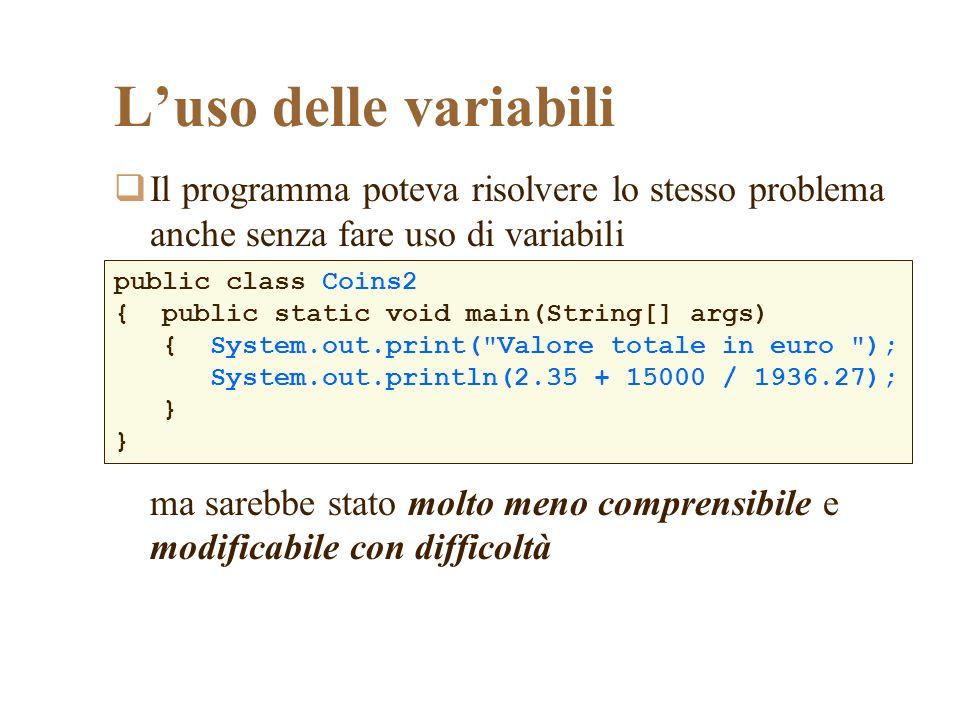 Luso delle variabili Il programma poteva risolvere lo stesso problema anche senza fare uso di variabili ma sarebbe stato molto meno comprensibile e mo
