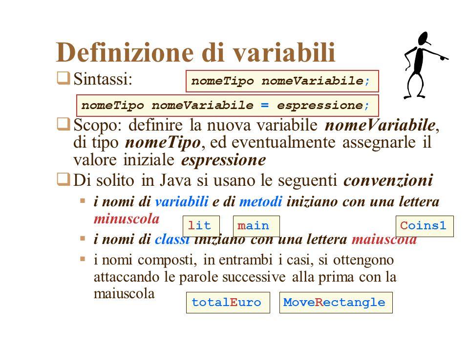 Definizione di variabili Sintassi: Scopo: definire la nuova variabile nomeVariabile, di tipo nomeTipo, ed eventualmente assegnarle il valore iniziale espressione Di solito in Java si usano le seguenti convenzioni i nomi di variabili e di metodi iniziano con una lettera minuscola i nomi di classi iniziano con una lettera maiuscola i nomi composti, in entrambi i casi, si ottengono attaccando le parole successive alla prima con la maiuscola nomeTipo nomeVariabile; nomeTipo nomeVariabile = espressione; lit MoveRectangletotalEuro mainCoins1