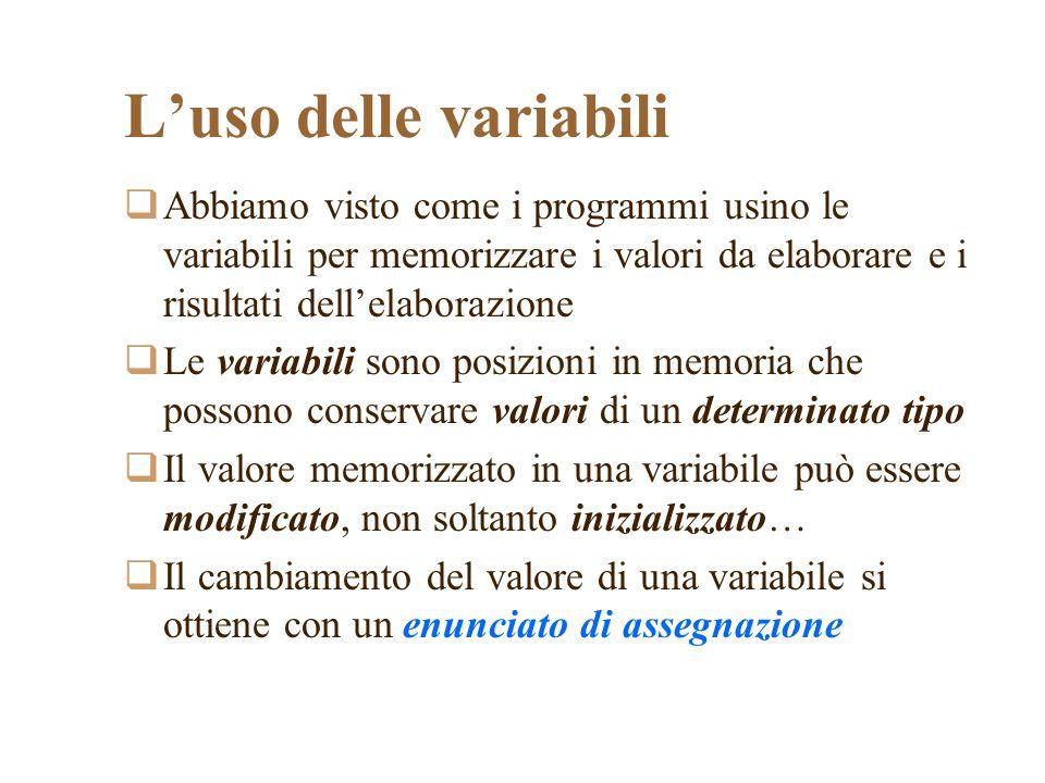 Luso delle variabili Abbiamo visto come i programmi usino le variabili per memorizzare i valori da elaborare e i risultati dellelaborazione Le variabili sono posizioni in memoria che possono conservare valori di un determinato tipo Il valore memorizzato in una variabile può essere modificato, non soltanto inizializzato… Il cambiamento del valore di una variabile si ottiene con un enunciato di assegnazione