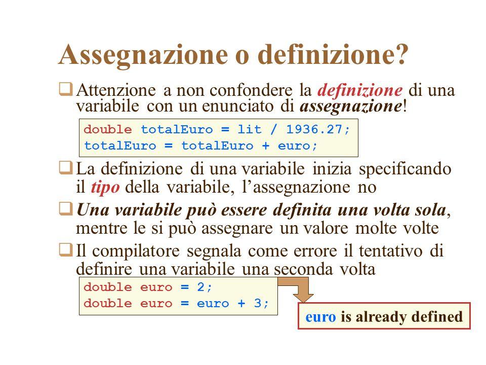 Assegnazione o definizione? Attenzione a non confondere la definizione di una variabile con un enunciato di assegnazione! La definizione di una variab