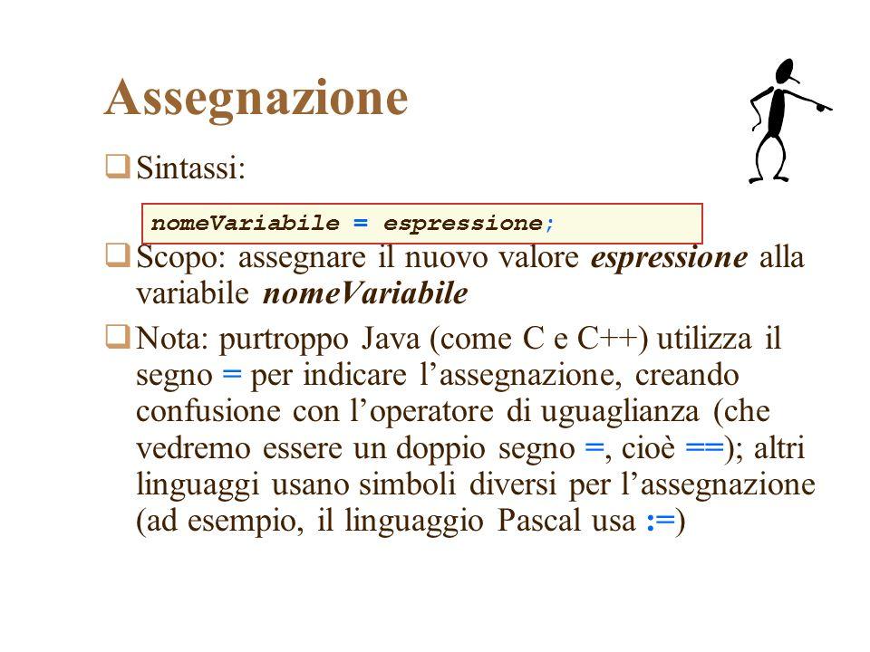 Assegnazione Sintassi: Scopo: assegnare il nuovo valore espressione alla variabile nomeVariabile Nota: purtroppo Java (come C e C++) utilizza il segno
