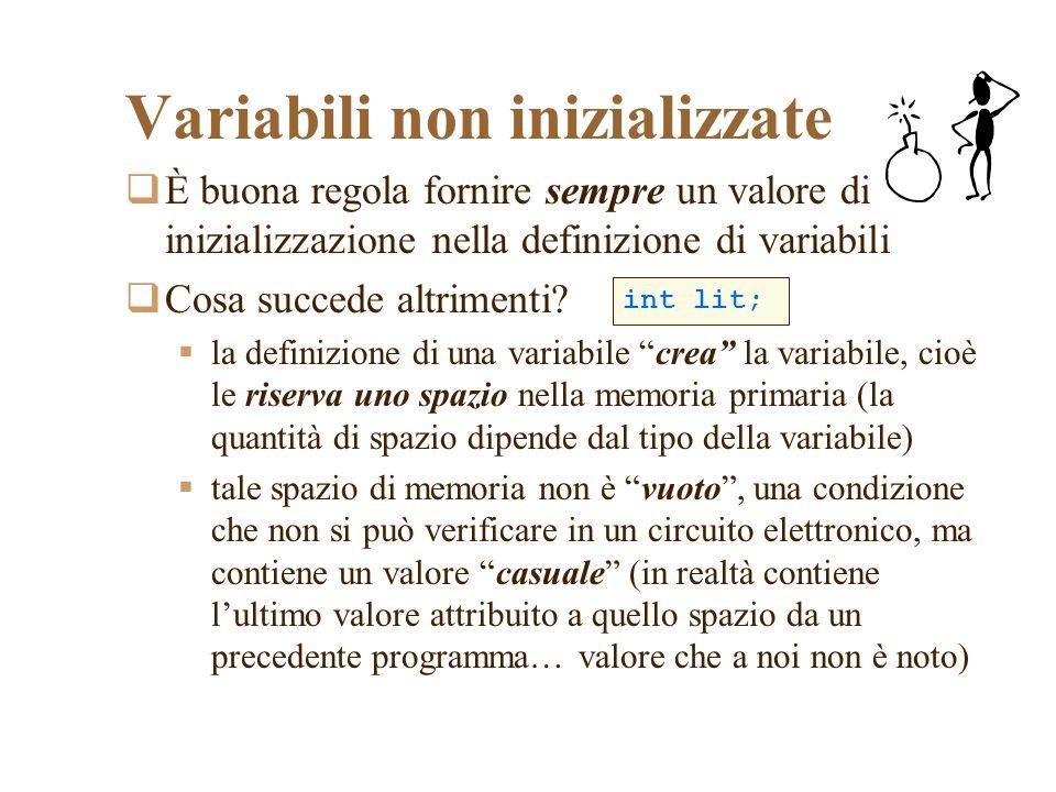 È buona regola fornire sempre un valore di inizializzazione nella definizione di variabili Cosa succede altrimenti.
