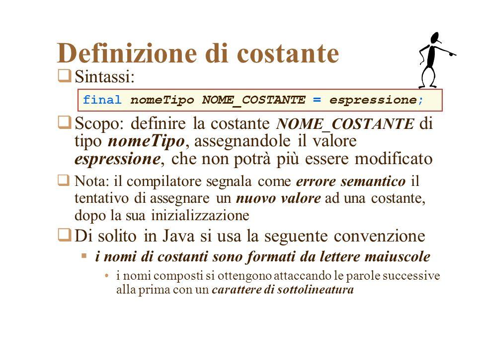 Definizione di costante Sintassi: Scopo: definire la costante NOME_COSTANTE di tipo nomeTipo, assegnandole il valore espressione, che non potrà più es