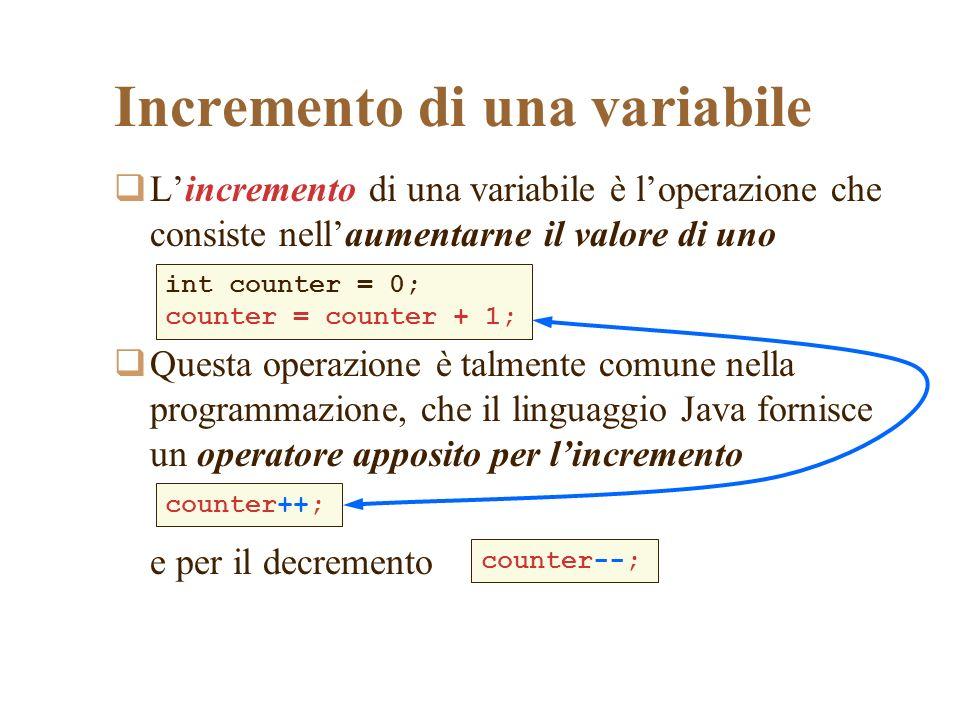 Incremento di una variabile Lincremento di una variabile è loperazione che consiste nellaumentarne il valore di uno Questa operazione è talmente comun