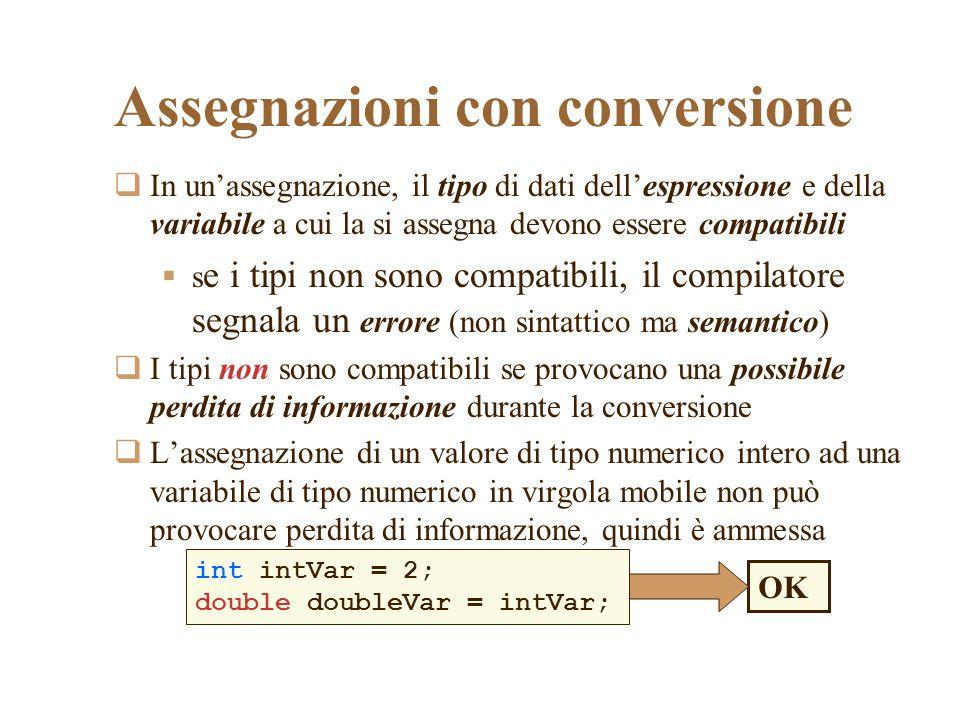 Assegnazioni con conversione In unassegnazione, il tipo di dati dellespressione e della variabile a cui la si assegna devono essere compatibili s e i