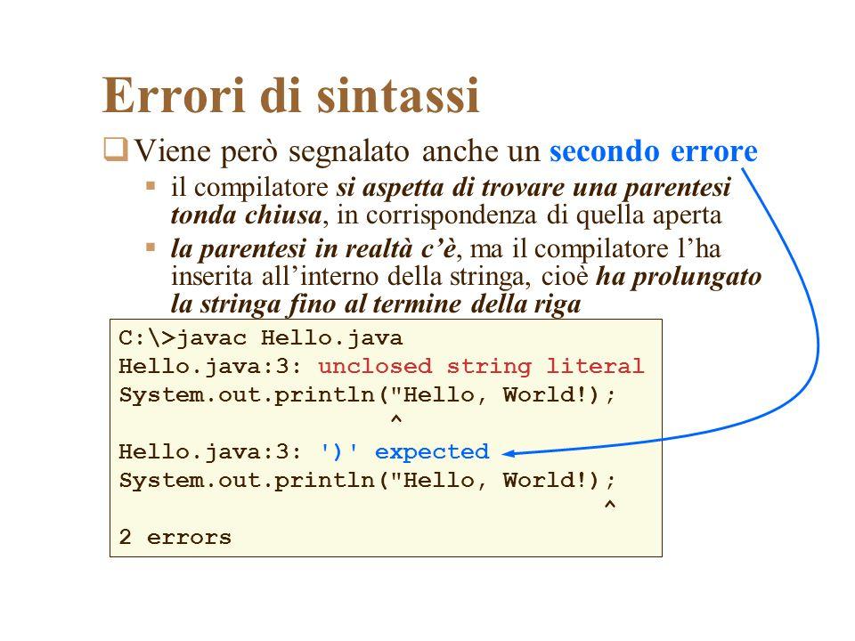 Il tipo di dati stringa I tipi di dati più importanti nella maggior parte dei programmi sono i numeri e le stringhe Una stringa è una sequenza di caratteri, che in Java (come in molti altri linguaggi) vanno racchiusi tra virgolette le virgolette non fanno parte della stringa Possiamo dichiarare e inizializzare variabili di tipo stringa Possiamo assegnare un valore ad una variabile di tipo stringa String name = John ; Hello name = Michael ;