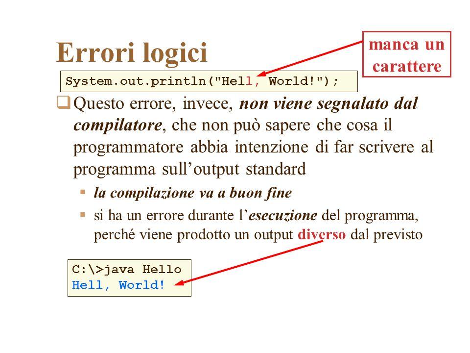 Assegnazione Sintassi: Scopo: assegnare il nuovo valore espressione alla variabile nomeVariabile Nota: purtroppo Java (come C e C++) utilizza il segno = per indicare lassegnazione, creando confusione con loperatore di uguaglianza (che vedremo essere un doppio segno =, cioè ==); altri linguaggi usano simboli diversi per lassegnazione (ad esempio, il linguaggio Pascal usa :=) nomeVariabile = espressione;