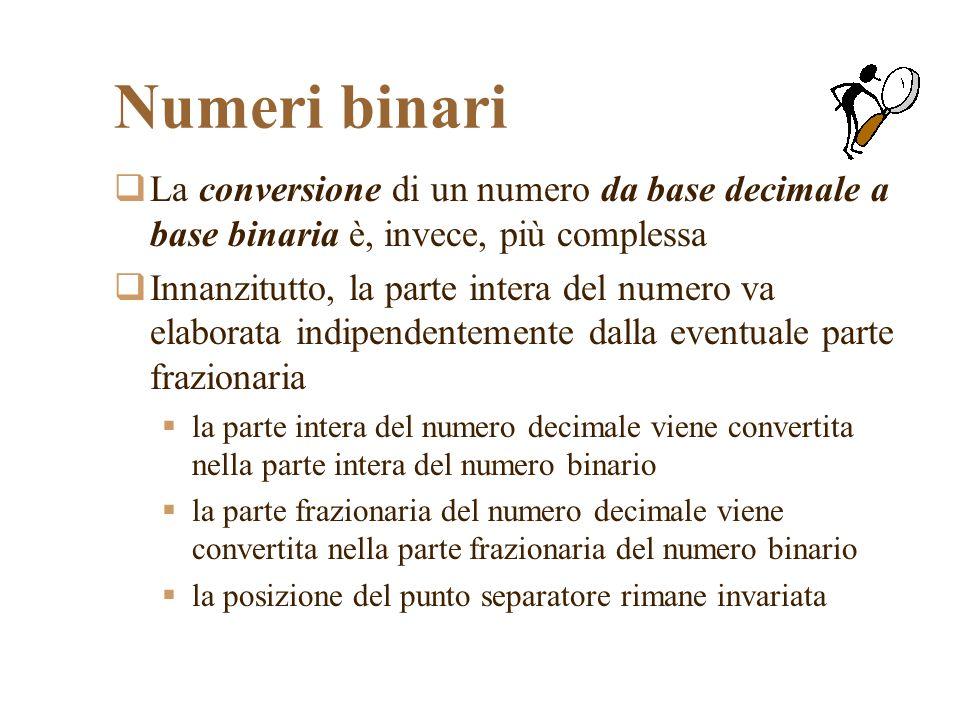 Numeri binari La conversione di un numero da base decimale a base binaria è, invece, più complessa Innanzitutto, la parte intera del numero va elaborata indipendentemente dalla eventuale parte frazionaria la parte intera del numero decimale viene convertita nella parte intera del numero binario la parte frazionaria del numero decimale viene convertita nella parte frazionaria del numero binario la posizione del punto separatore rimane invariata
