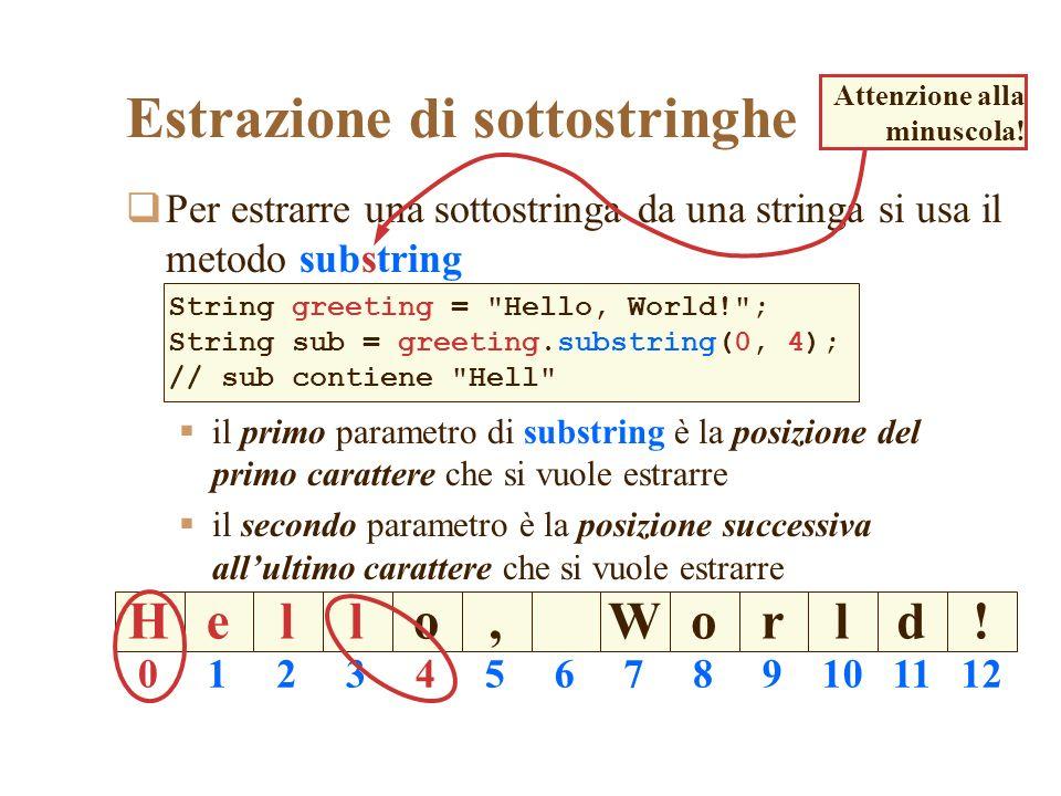 Estrazione di sottostringhe Per estrarre una sottostringa da una stringa si usa il metodo substring il primo parametro di substring è la posizione del primo carattere che si vuole estrarre il secondo parametro è la posizione successiva allultimo carattere che si vuole estrarre String greeting = Hello, World! ; String sub = greeting.substring(0, 4); // sub contiene Hell Heoll,Wodlr.