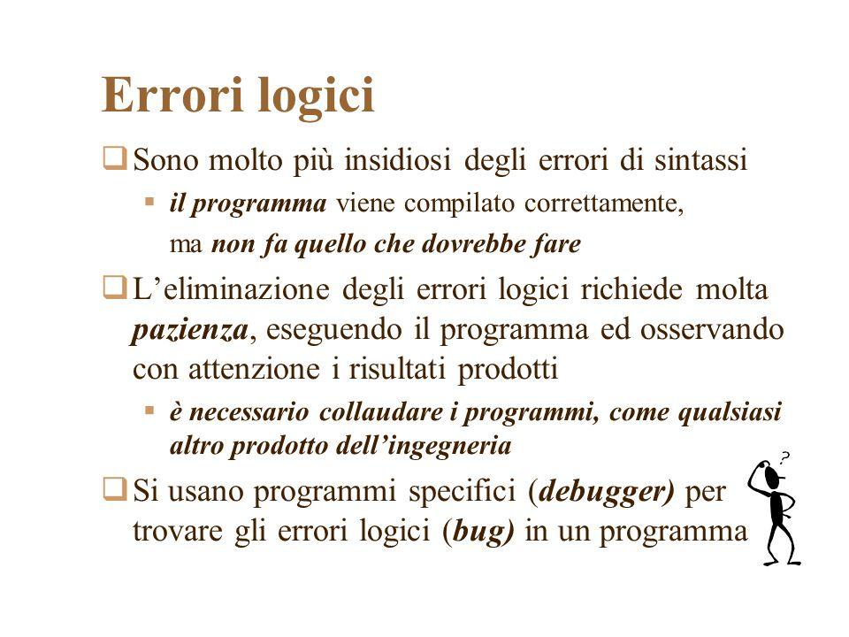 Errori logici Sono molto più insidiosi degli errori di sintassi il programma viene compilato correttamente, ma non fa quello che dovrebbe fare Leliminazione degli errori logici richiede molta pazienza, eseguendo il programma ed osservando con attenzione i risultati prodotti è necessario collaudare i programmi, come qualsiasi altro prodotto dellingegneria Si usano programmi specifici (debugger) per trovare gli errori logici (bug) in un programma
