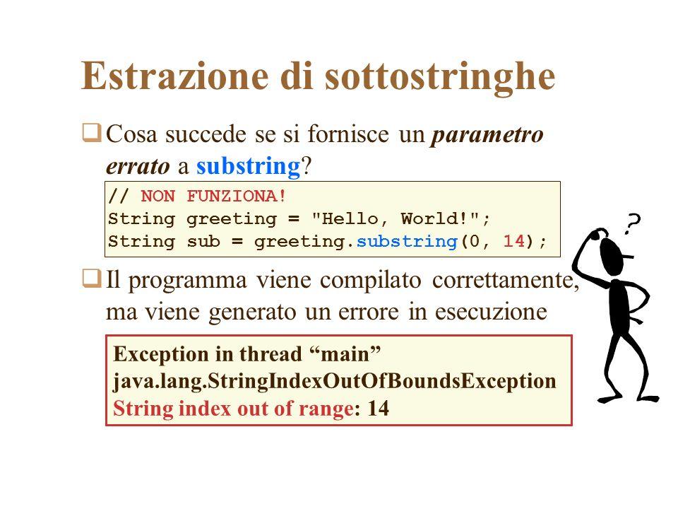 Estrazione di sottostringhe Cosa succede se si fornisce un parametro errato a substring? Il programma viene compilato correttamente, ma viene generato