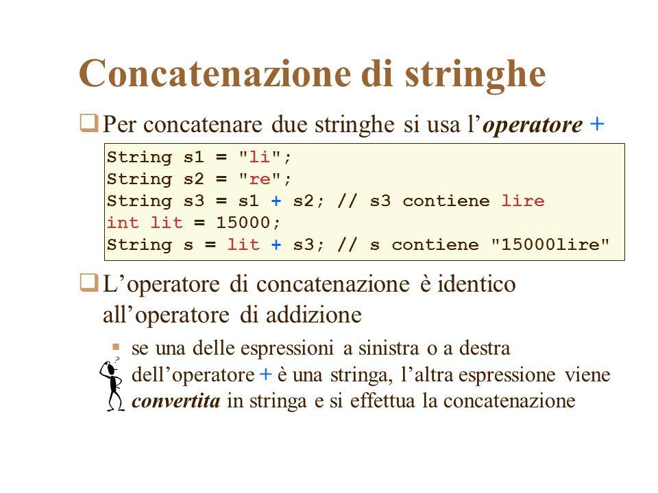 Concatenazione di stringhe Per concatenare due stringhe si usa loperatore + Loperatore di concatenazione è identico alloperatore di addizione se una delle espressioni a sinistra o a destra delloperatore + è una stringa, laltra espressione viene convertita in stringa e si effettua la concatenazione String s1 = li ; String s2 = re ; String s3 = s1 + s2; // s3 contiene lire int lit = 15000; String s = lit + s3; // s contiene 15000lire