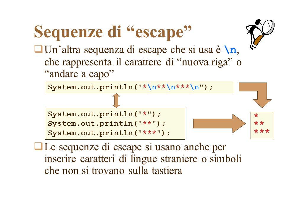 Sequenze di escape Unaltra sequenza di escape che si usa è \n, che rappresenta il carattere di nuova riga o andare a capo Le sequenze di escape si usano anche per inserire caratteri di lingue straniere o simboli che non si trovano sulla tastiera System.out.println( *\n**\n***\n ); * ** *** System.out.println( * ); System.out.println( ** ); System.out.println( *** );