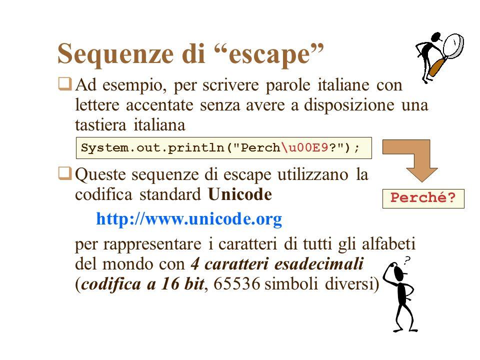 Sequenze di escape Ad esempio, per scrivere parole italiane con lettere accentate senza avere a disposizione una tastiera italiana Queste sequenze di