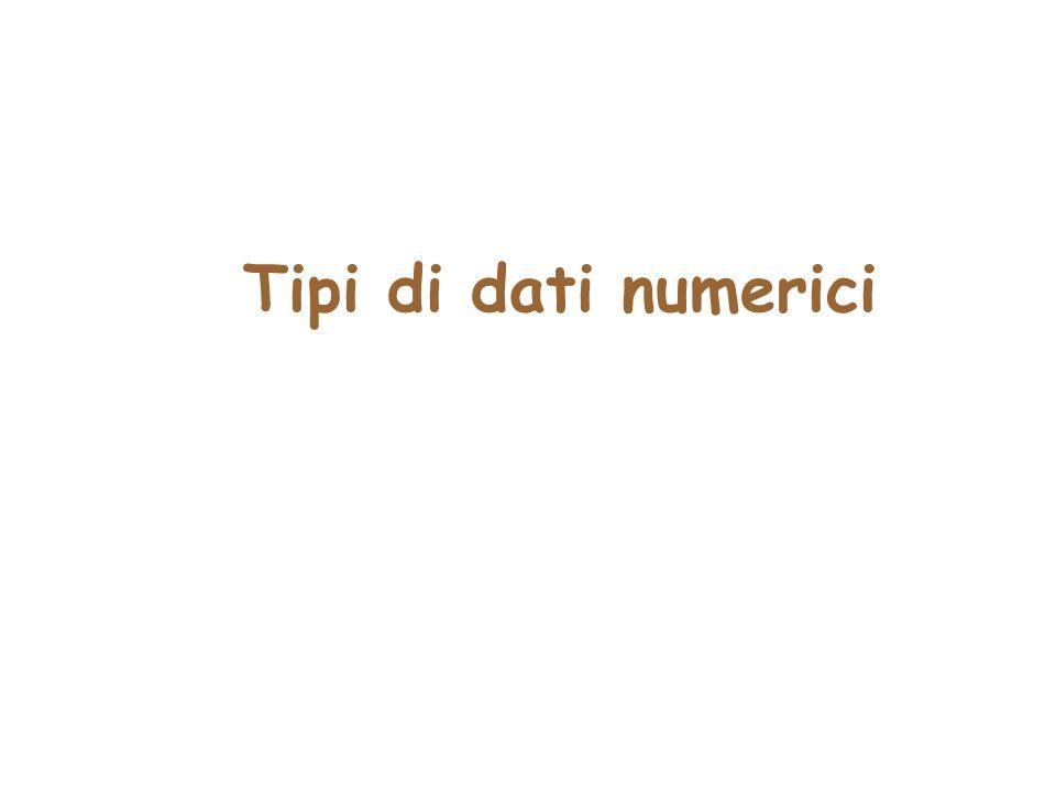 Un programma che elabora numeri public class Coins1 { public static void main(String[] args) { int lit = 15000; // lire italiane double euro = 2.35; // euro // calcola il valore totale double totalEuro = euro + lit / 1936.27; // stampa il valore totale System.out.print( Valore totale in euro ); System.out.println(totalEuro); }