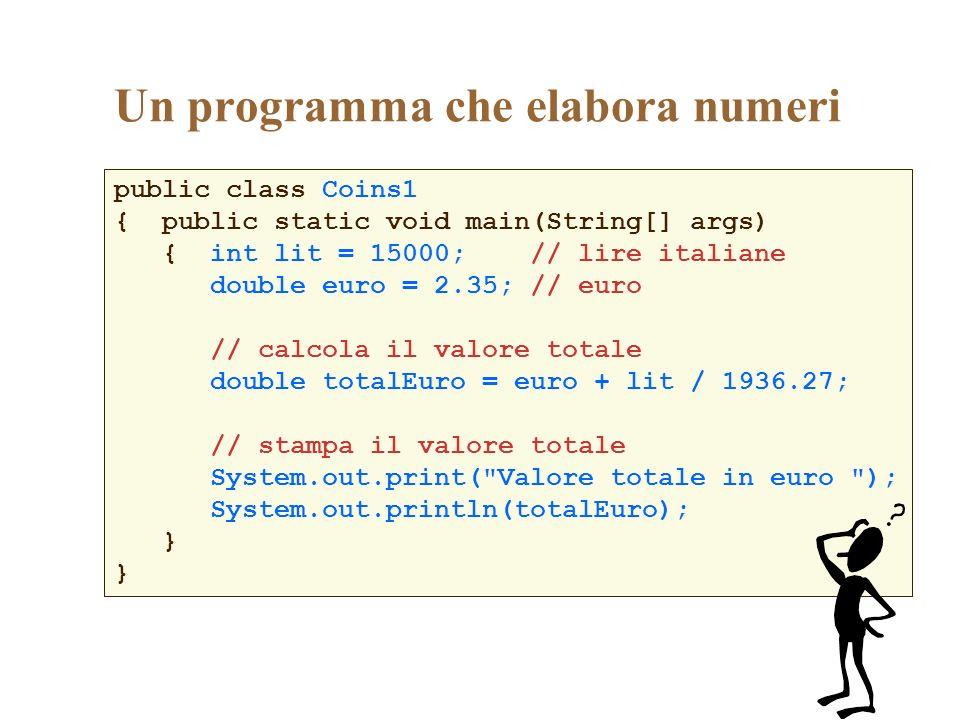 Un programma che elabora numeri public class Coins1 { public static void main(String[] args) { int lit = 15000; // lire italiane double euro = 2.35; /