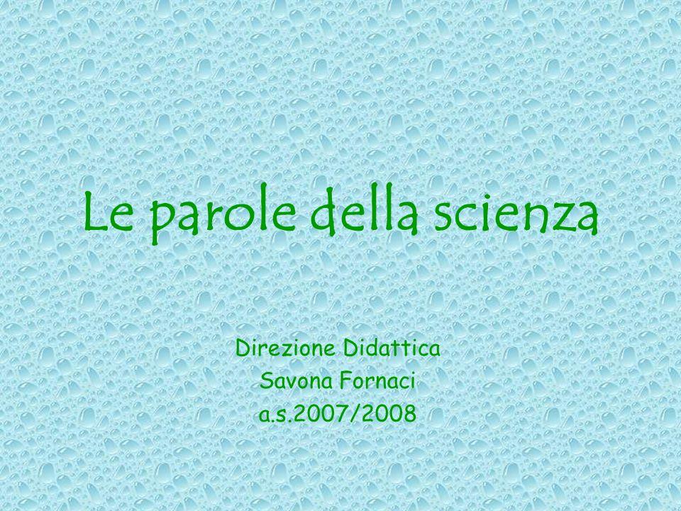 Le parole della scienza Direzione Didattica Savona Fornaci a.s.2007/2008