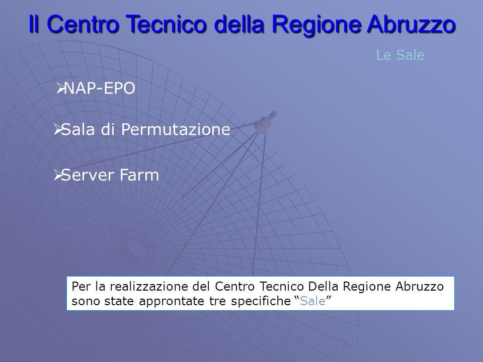 Il Centro Tecnico della Regione Abruzzo Per la realizzazione del Centro Tecnico Della Regione Abruzzo sono state approntate tre specifiche Sale Le Sale NAP-EPO Sala di Permutazione Server Farm