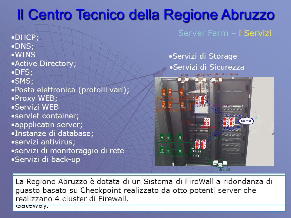 Il Centro Tecnico della Regione Abruzzo Server Farm – i Servizi DHCP; DNS; WINS Active Directory; DFS; SMS; Posta elettronica (protolli vari); Proxy WEB; Servizi WEB servlet container; appplicatin server; Instanze di database; servizi antivirus; servizi di monitoraggio di rete Servizi di back-up Servizi di Storage Realizzato tramite SAN (Storage Area Network) rende attualmente disponibili in rete, con connessione in fibra, 7 TeraByte espandibili fino a 32.