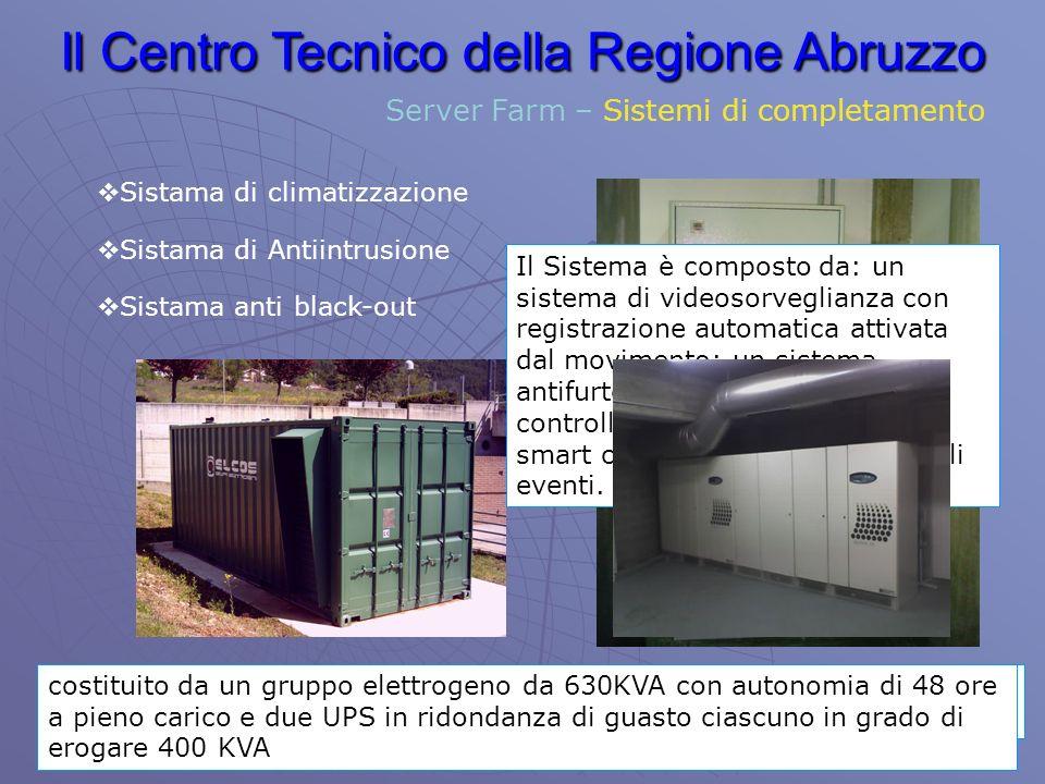 Il Centro Tecnico della Regione Abruzzo Server Farm – Sistemi di completamento Sistama di climatizzazione Il Sistema è in grado di mantenere temperatura e umidità costanti nelle 3 Sale ed è gestibile tramite un sistema di manegement remotizzato.