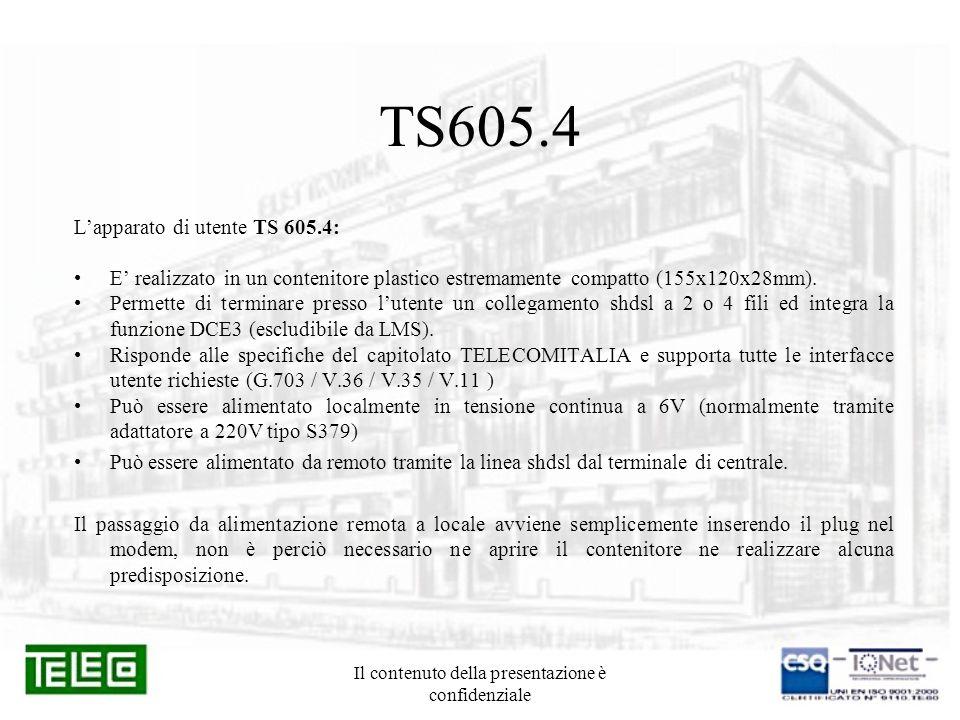 Il contenuto della presentazione è confidenziale TS605.4 Lapparato di utente TS 605.4: E realizzato in un contenitore plastico estremamente compatto (