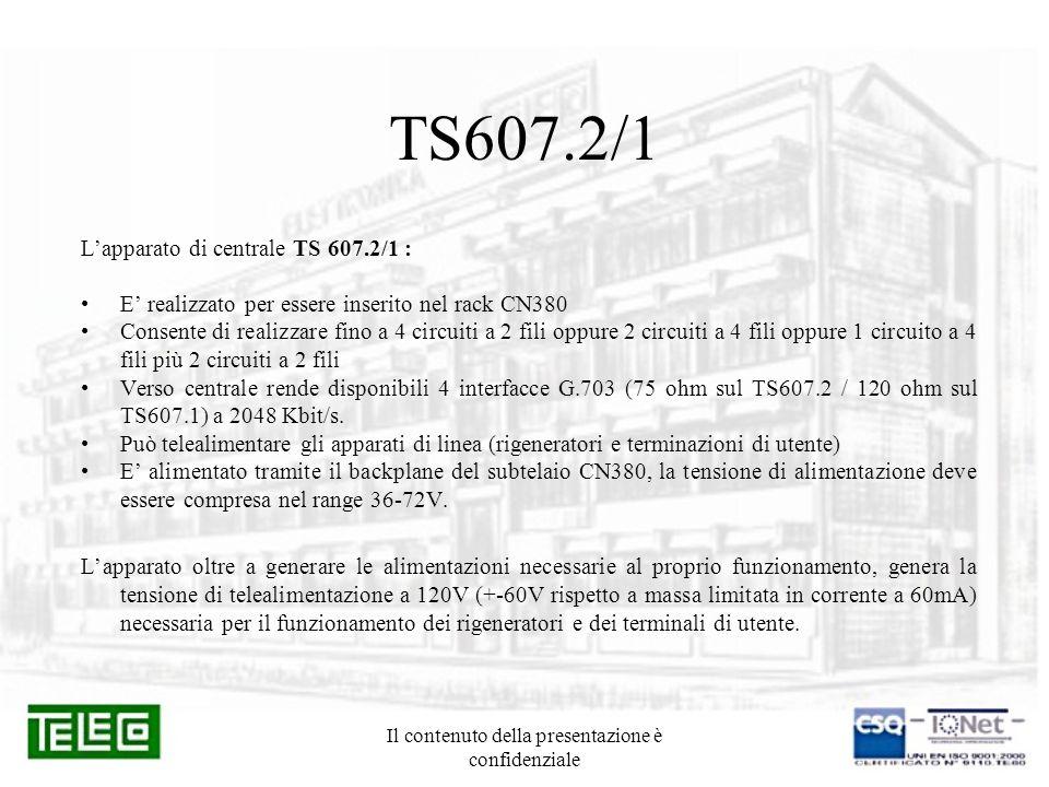 Il contenuto della presentazione è confidenziale TS607.2/1 Lapparato di centrale TS 607.2/1 : E realizzato per essere inserito nel rack CN380 Consente