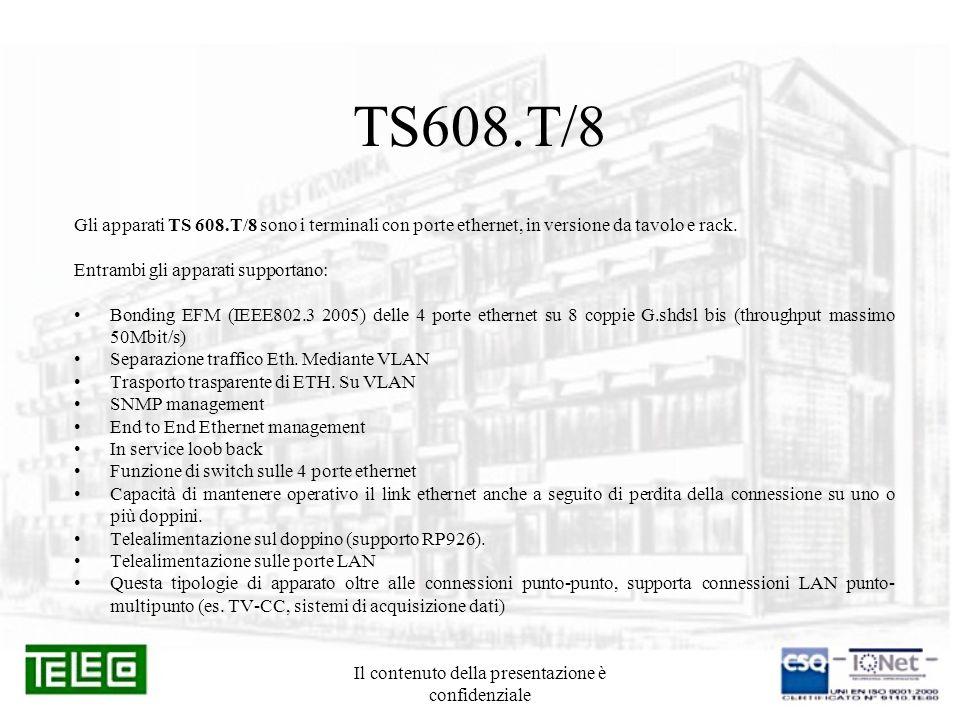 Il contenuto della presentazione è confidenziale TS608.T/8 Gli apparati TS 608.T/8 sono i terminali con porte ethernet, in versione da tavolo e rack.