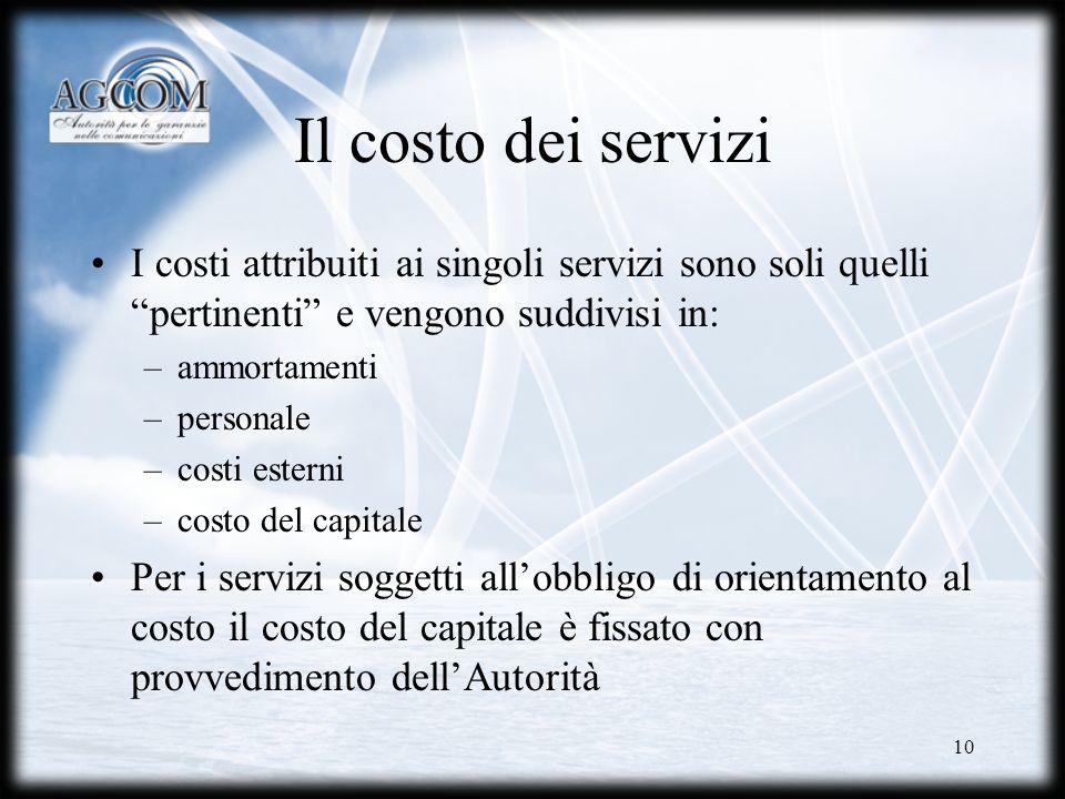 10 Il costo dei servizi I costi attribuiti ai singoli servizi sono soli quelli pertinenti e vengono suddivisi in: –ammortamenti –personale –costi este