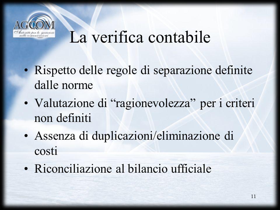 11 La verifica contabile Rispetto delle regole di separazione definite dalle norme Valutazione di ragionevolezza per i criteri non definiti Assenza di