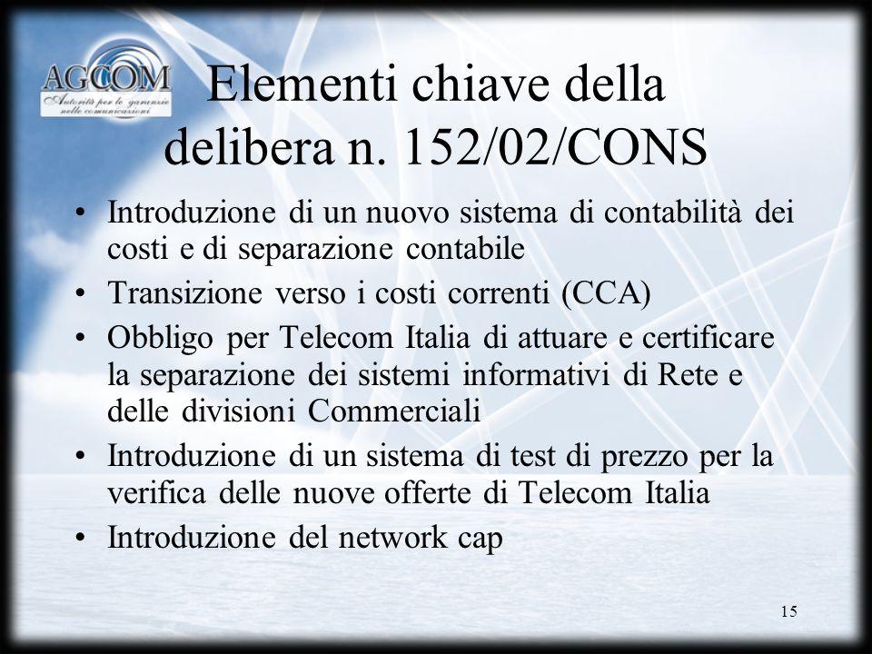 15 Elementi chiave della delibera n. 152/02/CONS Introduzione di un nuovo sistema di contabilità dei costi e di separazione contabile Transizione vers