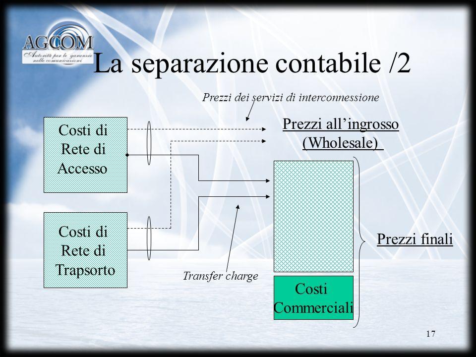 17 La separazione contabile /2 Costi di Rete di Accesso Costi di Rete di Trapsorto Costi Commerciali Prezzi allingrosso (Wholesale) Transfer charge Pr