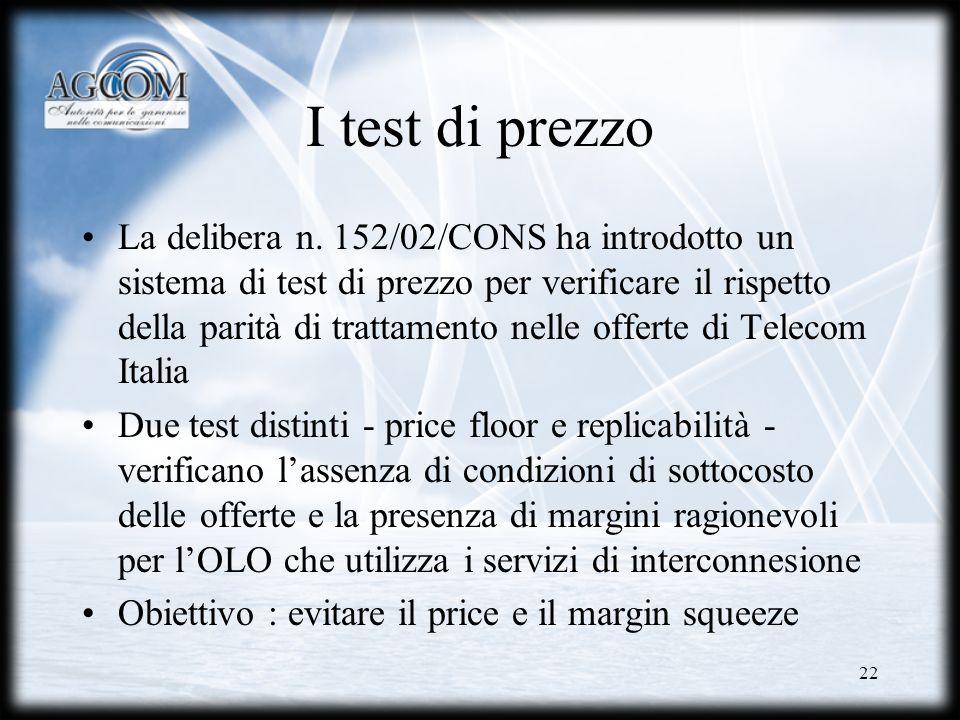 22 I test di prezzo La delibera n. 152/02/CONS ha introdotto un sistema di test di prezzo per verificare il rispetto della parità di trattamento nelle