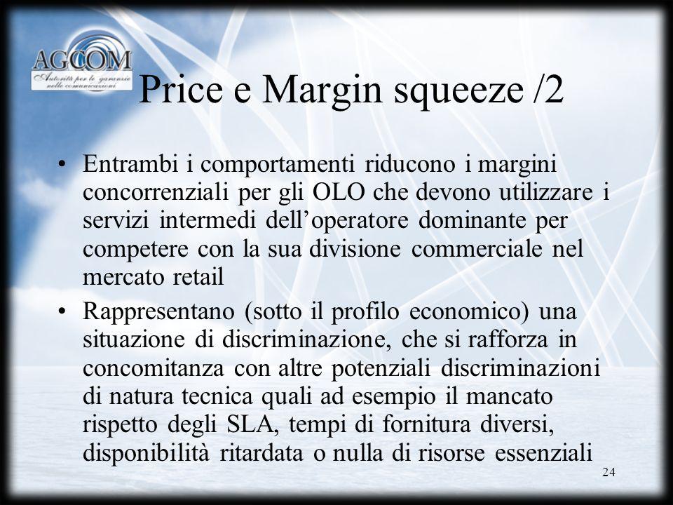 24 Price e Margin squeeze /2 Entrambi i comportamenti riducono i margini concorrenziali per gli OLO che devono utilizzare i servizi intermedi delloper