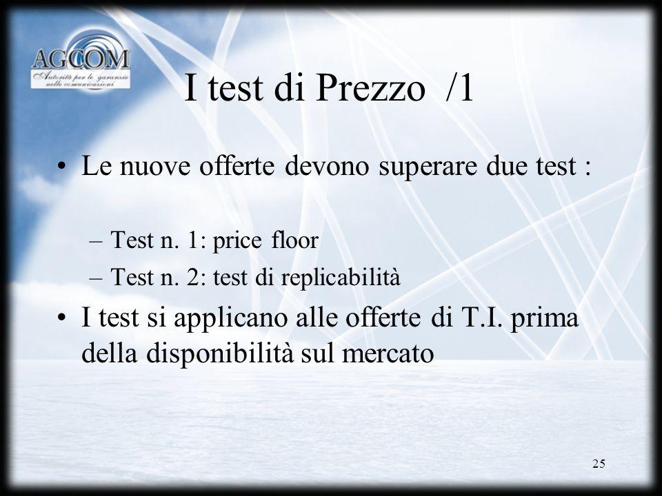 25 I test di Prezzo /1 Le nuove offerte devono superare due test : –Test n. 1: price floor –Test n. 2: test di replicabilità I test si applicano alle