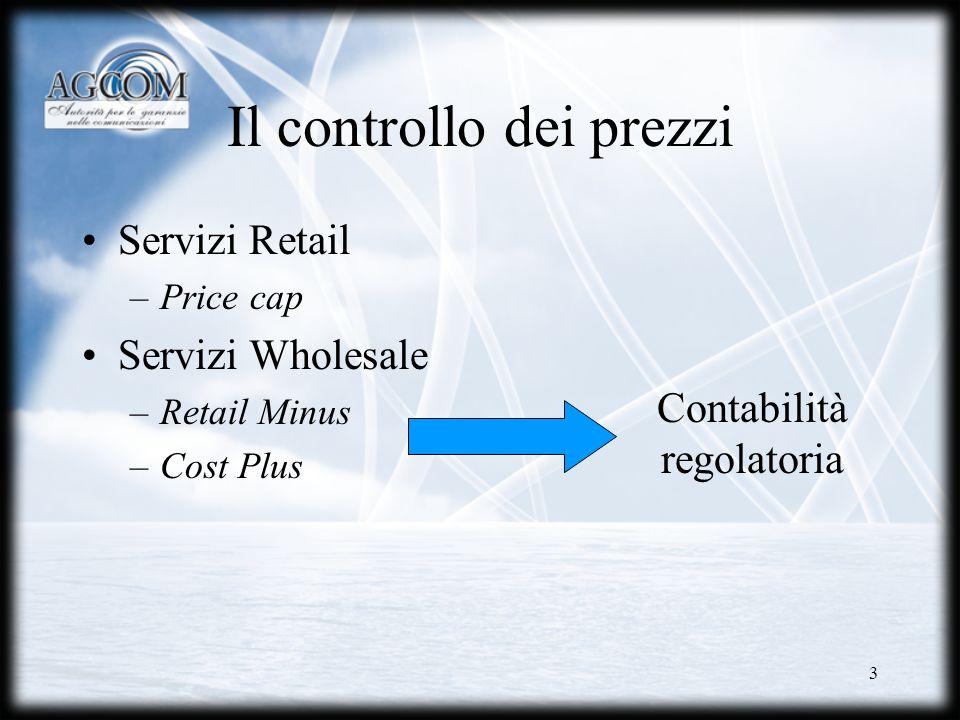 3 Il controllo dei prezzi Servizi Retail –Price cap Servizi Wholesale –Retail Minus –Cost Plus Contabilità regolatoria
