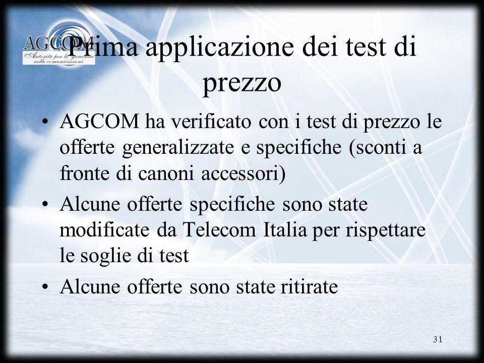 31 Prima applicazione dei test di prezzo AGCOM ha verificato con i test di prezzo le offerte generalizzate e specifiche (sconti a fronte di canoni acc