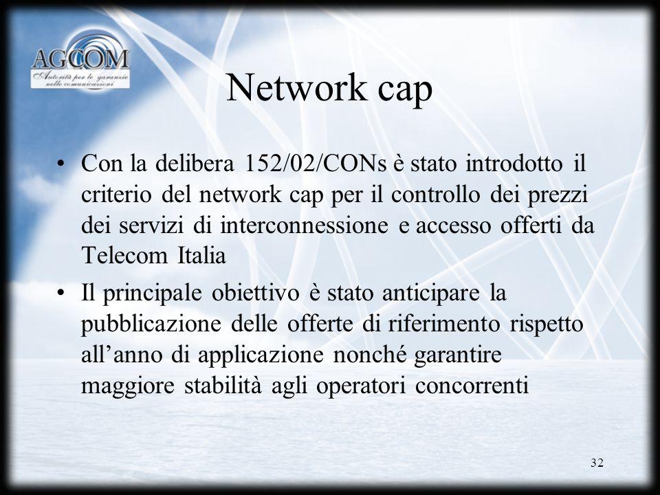32 Network cap Con la delibera 152/02/CONs è stato introdotto il criterio del network cap per il controllo dei prezzi dei servizi di interconnessione