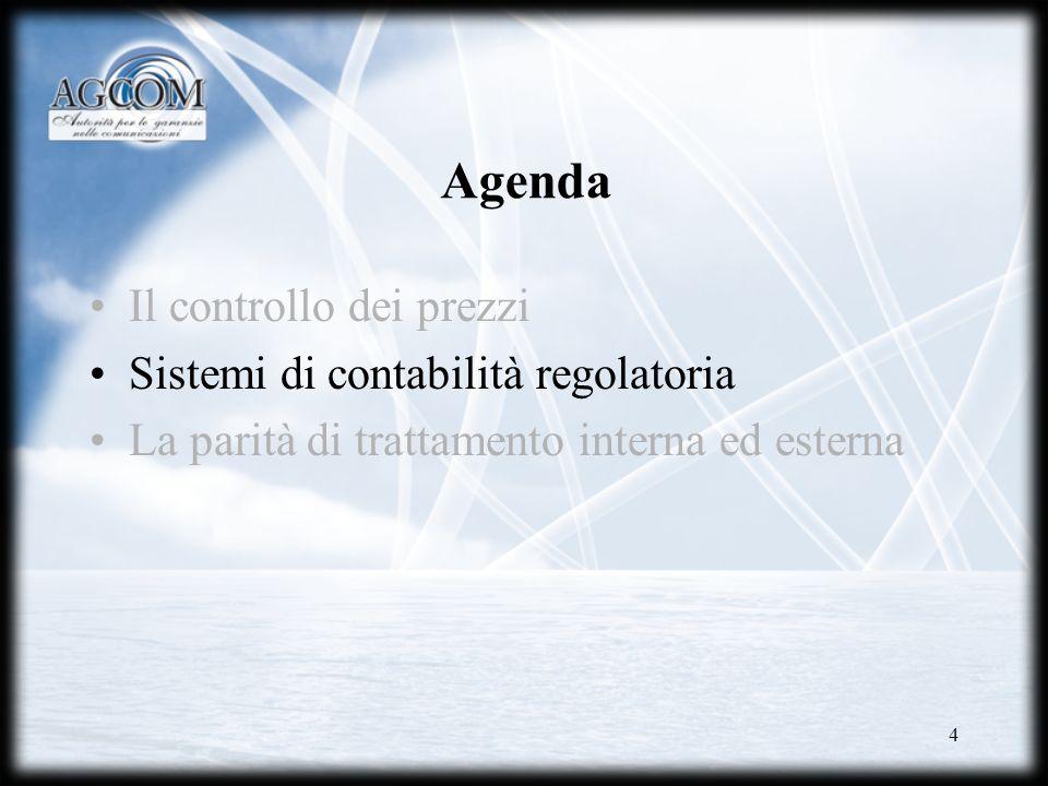 4 Agenda Il controllo dei prezzi Sistemi di contabilità regolatoria La parità di trattamento interna ed esterna