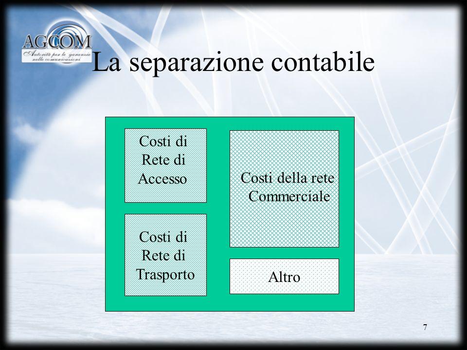 18 Separazione organizzativa È introdotto lobbligo formale per Telecom Italia di assicurare la separazione delle attività svolte per gli operatori concorrenti da quelle svolte per le proprie unità retail
