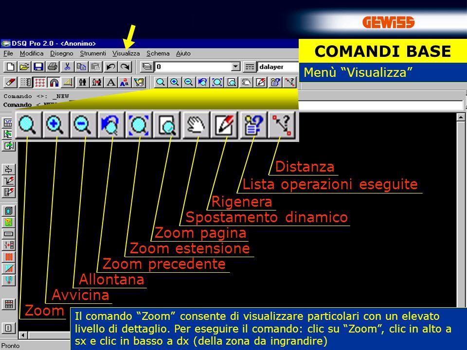 6 Distanza Lista operazioni eseguite Rigenera Spostamento dinamico Zoom pagina Zoom estensione Zoom precedente Allontana Avvicina Zoom Menù Visualizza COMANDI BASE Il comando Zoom consente di visualizzare particolari con un elevato livello di dettaglio.