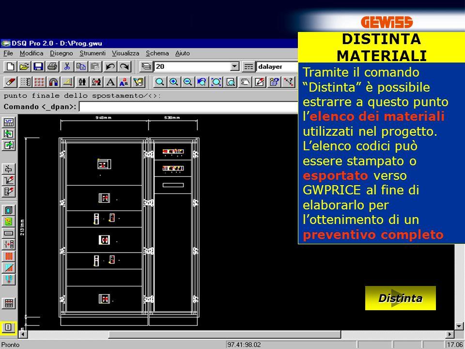 65 DISTINTA MATERIALI Tramite il comando Distinta è possibile estrarre a questo punto lelenco dei materiali utilizzati nel progetto.