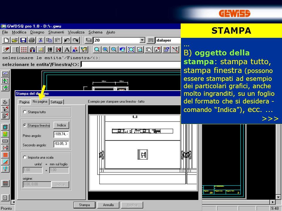 83 STAMPA … B) oggetto della stampa: stampa tutto, stampa finestra (possono essere stampati ad esempio dei particolari grafici, anche molto ingranditi, su un foglio del formato che si desidera - comando Indica), ecc....