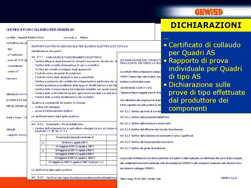 86 DICHIARAZIONI … Certificato di collaudo per Quadri AS Rapporto di prova individuale per Quadri di tipo AS Dichiarazione sulle prove di tipo effettuate dal produttore dei componenti