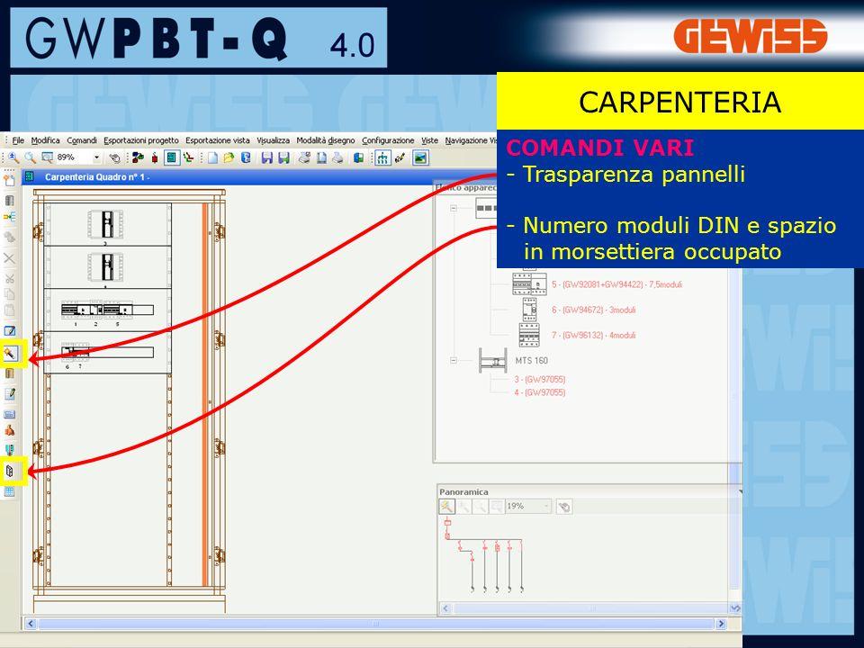 102 CARPENTERIA COMANDI VARI - Trasparenza pannelli - Numero moduli DIN e spazio in morsettiera occupato