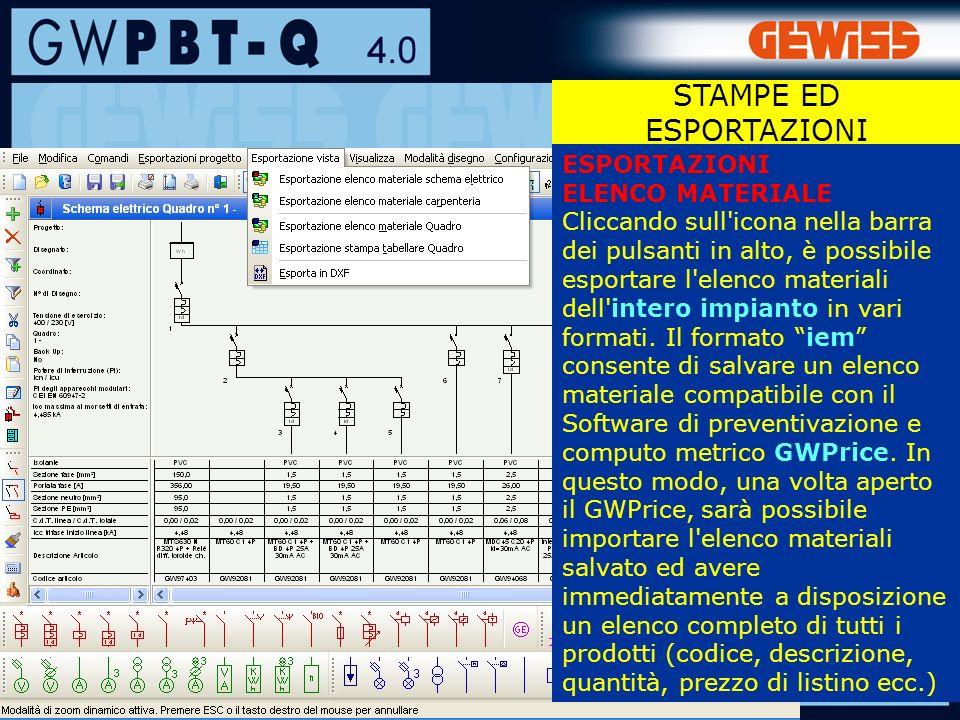 116 ESPORTAZIONI ELENCO MATERIALE Cliccando sull icona nella barra dei pulsanti in alto, è possibile esportare l elenco materiali dell intero impianto in vari formati.